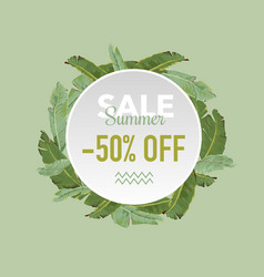 Summer sale tropical palms banner vector