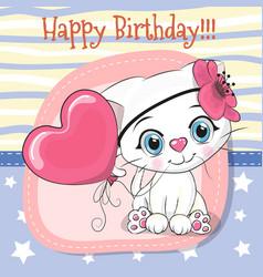 Cute cartoon kitten with balloon vector