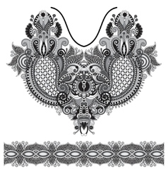 Neckline grey embroidery fashion vector