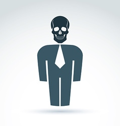 White collar office worker man icon with skull vector