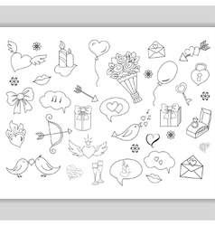 Sketchy hand drawn love doodles objects vector