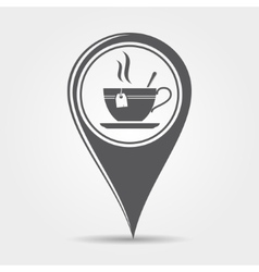 Map pointer with tea icon vector