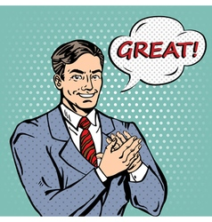 Pop Art Man Applauds with Expression Great vector image