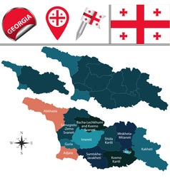 Georgia map with named divisions vector