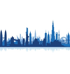 cityscape blue flat vector image