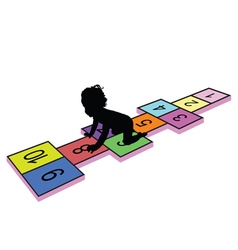 Child on hopscotch silhouette vector