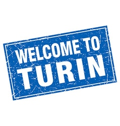 Turin blue square grunge welcome to stamp vector image