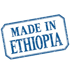 Ethiopia - made in blue vintage isolated label vector