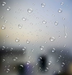 Realistic water droplets on glass vector