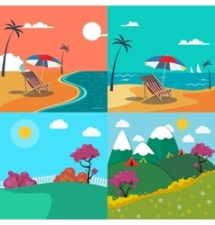 Summer landscapes set seascape with palm trees vector