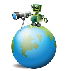 A robot with a telescope above the globe vector image vector image