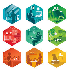 A set of icons with different everyday scenes vector