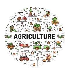 Agriculture and farming line art icons farm vector image