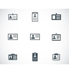 Black id card icons set vector