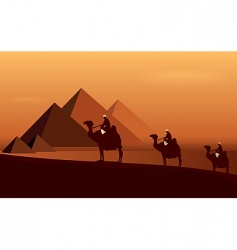 caravan camels vector image