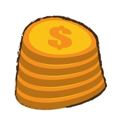 Cartoon coin pile dollar sketch vector