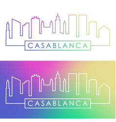 Casablanca skyline colorful linear style vector