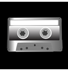 cassette on black vector image