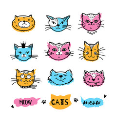 cats faces cat doodle hand drawn cats icons vector image