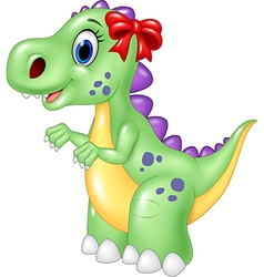 Cute female dinosaur isolated on white background vector image