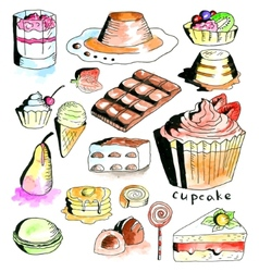 Dessert collection vector image vector image