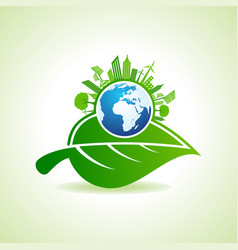 Eco energy concept with leafcityscape and earth vector