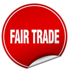 Fair trade round red sticker isolated on white vector