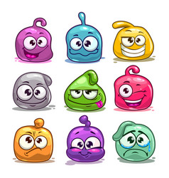 funny colorful blob characters vector image vector image