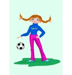 Girl in sportswear with soccer ball vector image