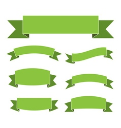 Green ribbon banners set vector