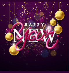 Happy new year with intertwined tube vector