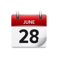 June 28 flat daily calendar icon date vector