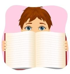 Little boy holding a book wide open vector