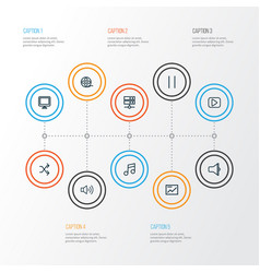 Media outline icons set collection of chart vector