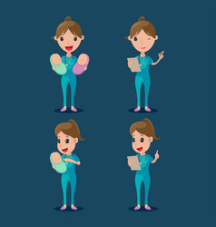 nurse cartoon character collection set vector image