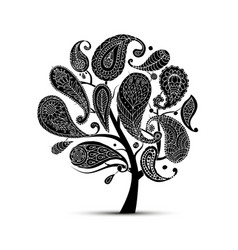 paisley ornament art tree sketch for your design vector image