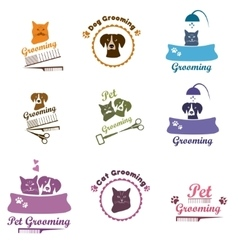 Pet grooming logo set vector
