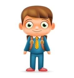 Realistic School Boy Child Cartoon Education vector image vector image