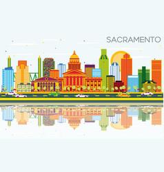 Sacramento usa skyline with color buildings blue vector