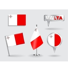 Set of maltese pin icon and map pointer flags vector