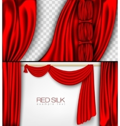 Silk curtains red colors isolated vector
