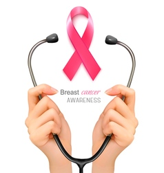Stethoscope with a breast cancer awareness ribbon vector