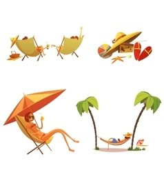 Summer Holiday Cartoon Icons Set vector image vector image