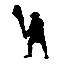 Troll silhouette monster villain fantasy vector