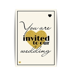 Wedding invitation with gold glitter hearts you vector