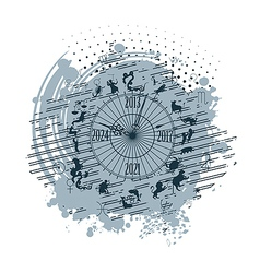 zodiac clock background vector image vector image