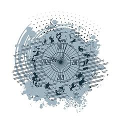 zodiac clock background vector image