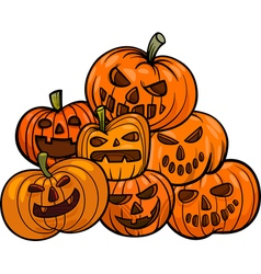 cartoon halloween pumpkins vector image