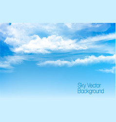 Blue sky background with transparent clouds vector