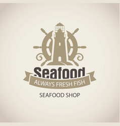 Seafood banner with a ship helm and lighthouse vector